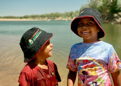 Kids playing near river